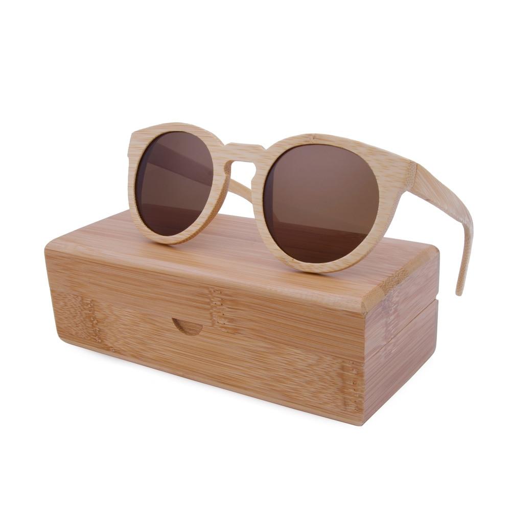 BerWer naturlige Bambus solbriller Damer Menn Tre solbriller Tresolbriller med bambusveske