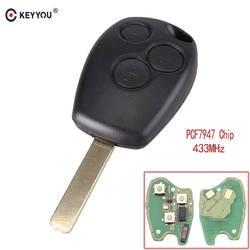 KEYYOU удаленного Управление ключи от машины 3 кнопки 433 МГц PCF7947 чип для Renault/Kangoo II/Clio III Duster Modus Twingo DACIA Logan