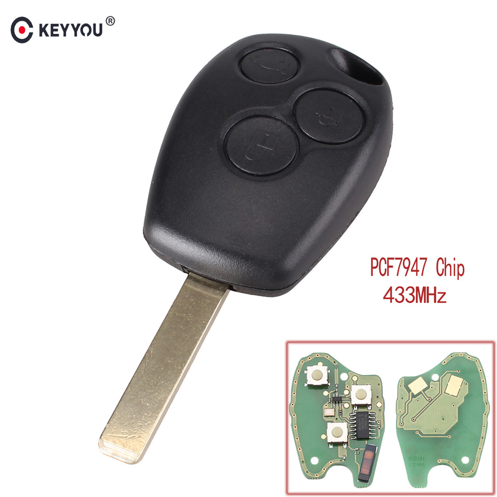 KEYYOU Remote Control Car Key 3 Button 433MHz PCF7947 Chip For Renault /Kangoo II /Clio III Duster Modus Twingo DACIA LoganKEYYOU Remote Control Car Key 3 Button 433MHz PCF7947 Chip For Renault /Kangoo II /Clio III Duster Modus Twingo DACIA Logan
