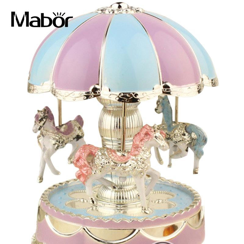 Bright Dome Round Carousel Melody Music Box Night Light Lamps Room Decor
