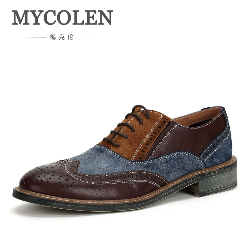 MYCOLEN Modern Gentlemen Formal Luxury Brand Top Fashion Brogue Shoes Genuine Leather Mens Wedding Party Dress Man