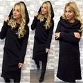 Hot Fashion Women Hooded Long Sleeved Lady Dress Female Autumn Winter Warm Mid- Calf Dress Feminine Solid Casual 4 colors