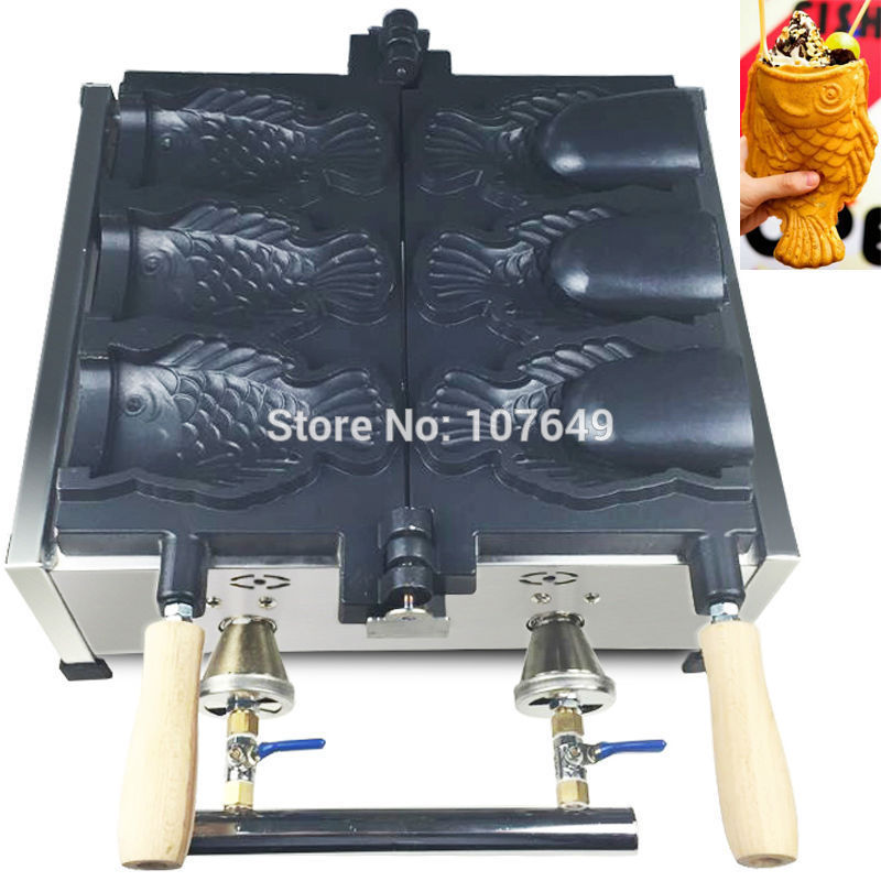 3pcs Fish Commercial Use Non-stick LPG Gas Ice Cream Taiyaki Maker Iron Machine Baker commercial use non stick lpg gas japanese takoyaki octopus fish ball maker iron baker machine