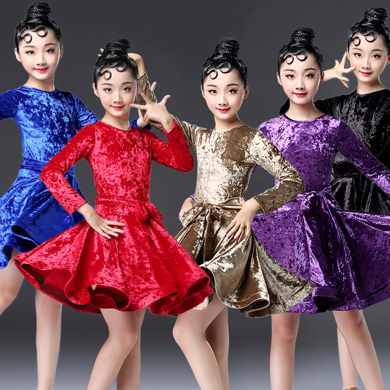Latin Dance Dress Girls Velvet Long Sleeve Round Neck Latin Dresses Competition Performance Rumba Salsa Cha Dancing Wear DN2700