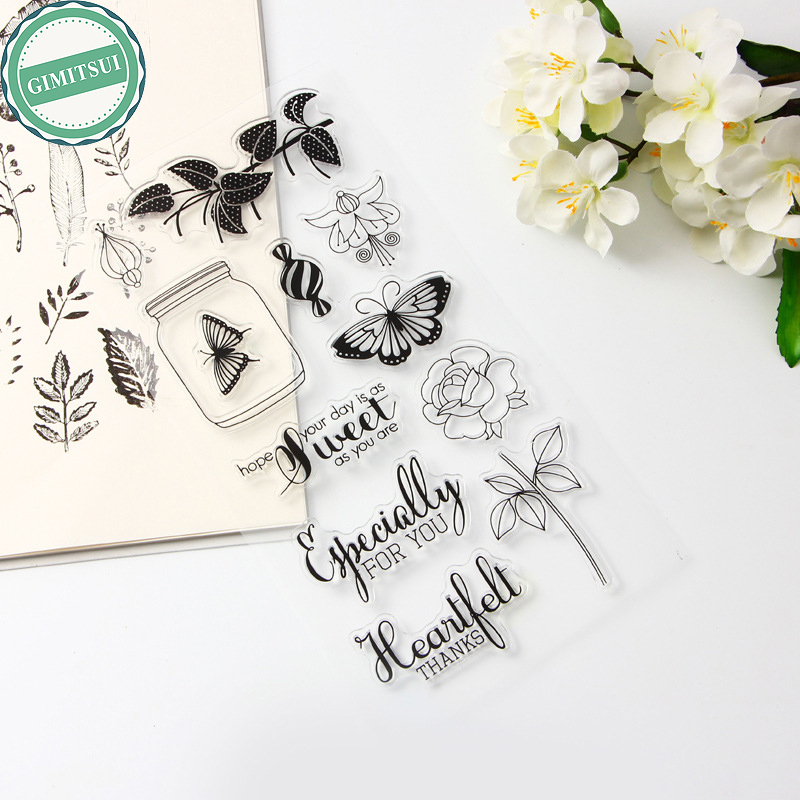 Flower Angel Butterfly Alphabet Transparent Clear Silicone Stamp DIY Scrapbooking Photo Album Diary Decor Paper Card Craft angel and trees clear stamp variety of styles clear stamp for diy scrapbooking photo album wedding gift cl 163