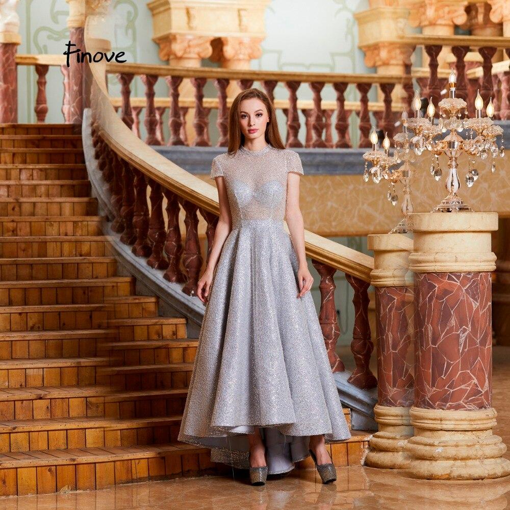 Finove Evening Dress Long 2019 Sparkle Fully Beaded Reflective Dress High Neck Short Sleeve Formal Party