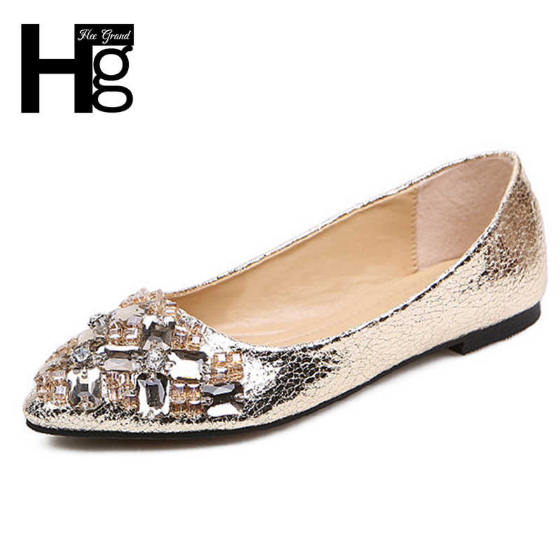 HEE GRAND Bling Women s Flats For 2018 New Summer Slip-On Pointed Toe  Casual Flat ed877d2fb986