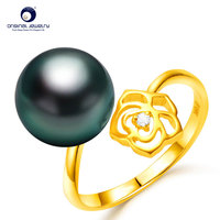 YS Fine Jewelry 10 11mm Natural Black Tahitian Cultured Pearl 18K Gold Rose Ring Latest
