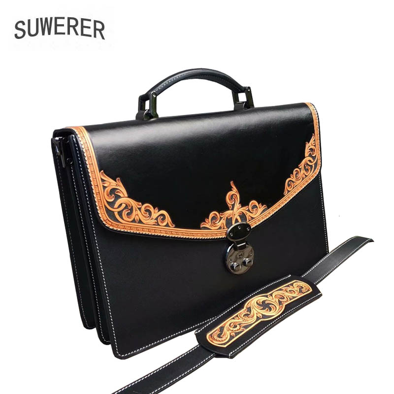 SUWERER New Women Genuine Leather bag Handmade Carved luxury top cowhide fashion tote shoulder bag designer women famous brandSUWERER New Women Genuine Leather bag Handmade Carved luxury top cowhide fashion tote shoulder bag designer women famous brand