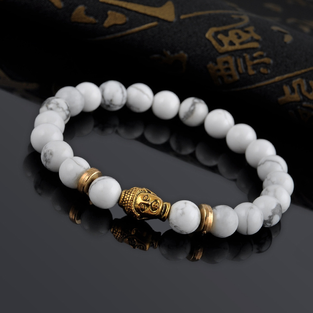 Men S Bangle Gold Buddha Elastic White Stone Beads Bracelet Female Tibet Bracelets Bangles For Women