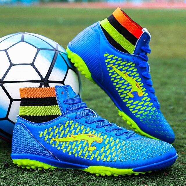188636b46e818 Hombres fútbol Zapatos tamaño 33-45 tobillo Fútbol Botas con Calcetines zapatillas  Futbol Sala hombres