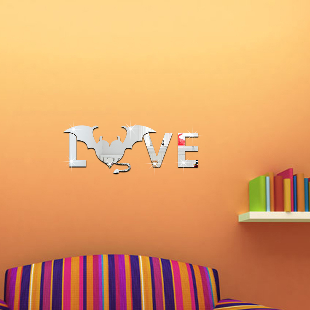 Personality Home Decoration 3D Mirror Surface Wall Sticker DIY ...