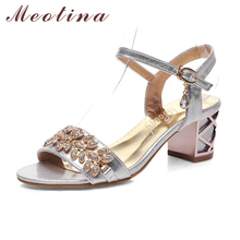 Meotina Shoes Women Sandals Luxury Bridal Shoes Summer Open Toe Party Chunky Heels Rhinestone Sandals Gold Big Size 9 10