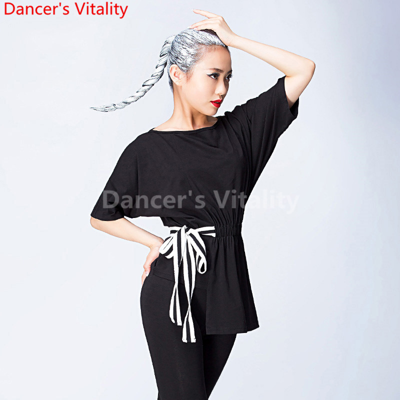 Black Latin Dance Top For Women Short sleeves Round neck Dancing Shirts Sexy Vogue Ballroom Costume Performance Dancing Wear