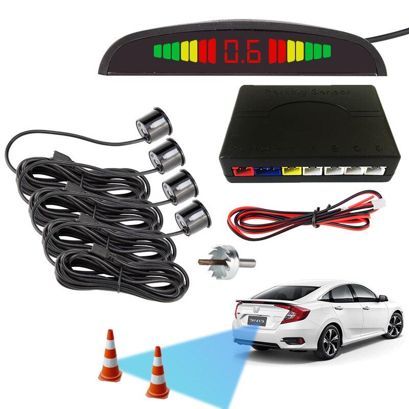 Car Parking Sensor Kit Vehicle Reverse Backup Radar System with 4 Parking Sensors LCD Display Alarm//Buzzer Reminder