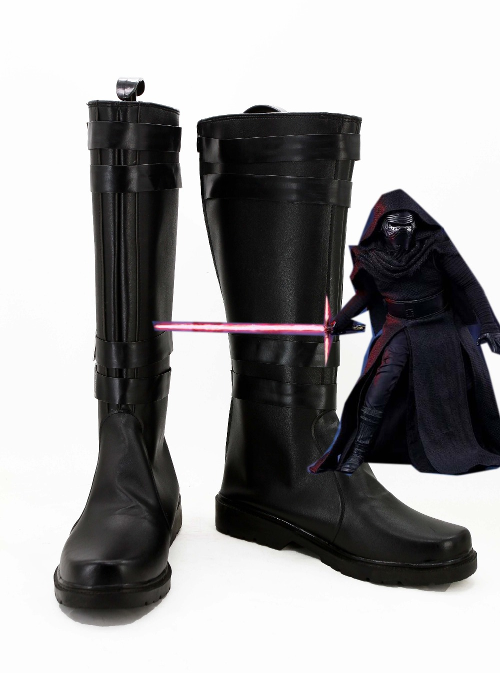 Star Wars 7: Force Awakens Kylo Ren Boots Skor Cosplay Kostym Custom Made