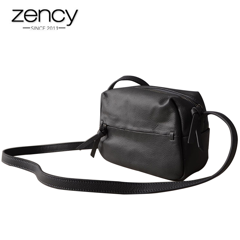 Zency 100% Genuine Leather Women Shoulder Bags Fashion Casual Crossbody Messenger Bag Lady Beautiful Flap Purse Black Handbag zency 100% genuine leather fashion women shoulder bag summer white small bag lady messenger crossbody purse simple black handbag