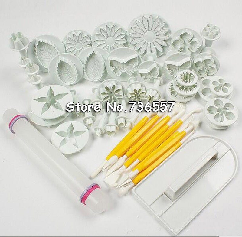 Cake Decorating Fondant Icing Plunger Cutters Mold Tools Cake Decorating Mold Tools 46Pcs Cake Punch household product plastic dustbin mold makers