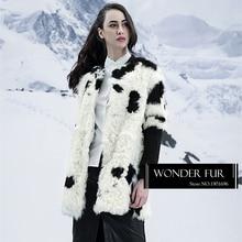 Cow Pattern Lamb Fur Down Coat Original Design Sheep Fur Jacket Fancy Style Cute Sheep Fur Medium Overcoat For Women