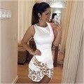 2016 Mulheres Vestido de Verão Colarinho Branco Sem Mangas O Pescoço de Impressão Digital Cruz Leopard-Print Vestido F01005