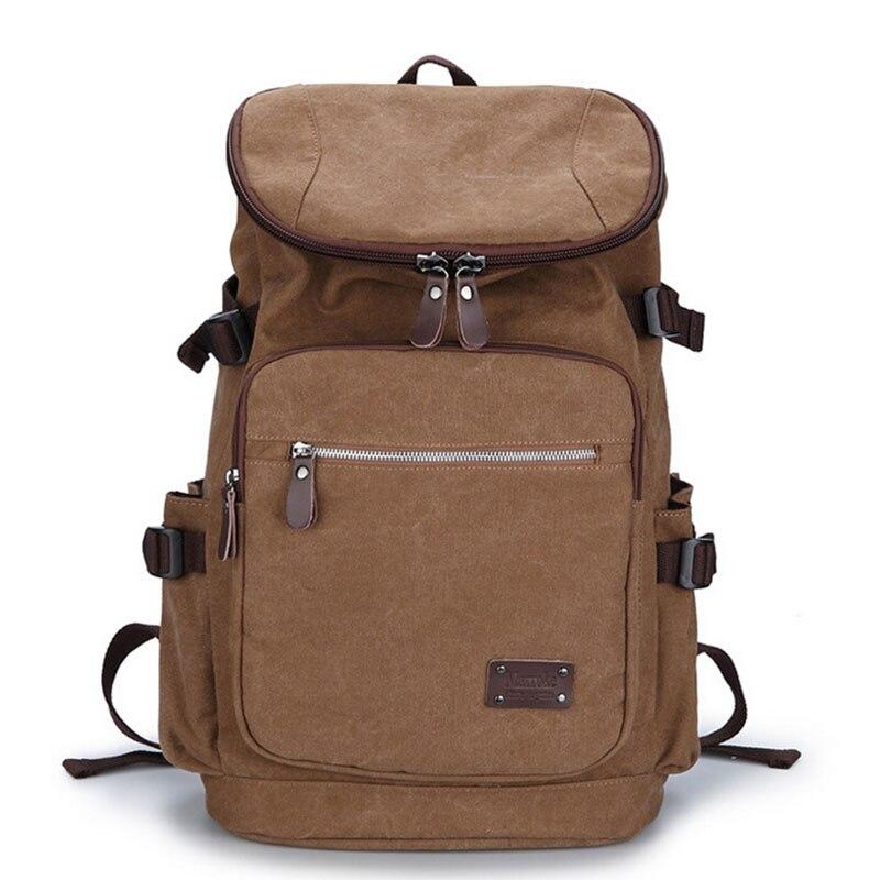 ФОТО Men Canvas Backpack Retro Travel Bag Large Capacity School Bag Shoulder Rucksack Laptop Bags Bolsas Mochila Escolar XA1296-1C