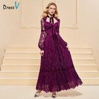 Вечернее платье трапециевидной формы, элегантное кружевное платье на пуговицах, с поясом, с длинными рукавами, длиной до щиколотки, торжест