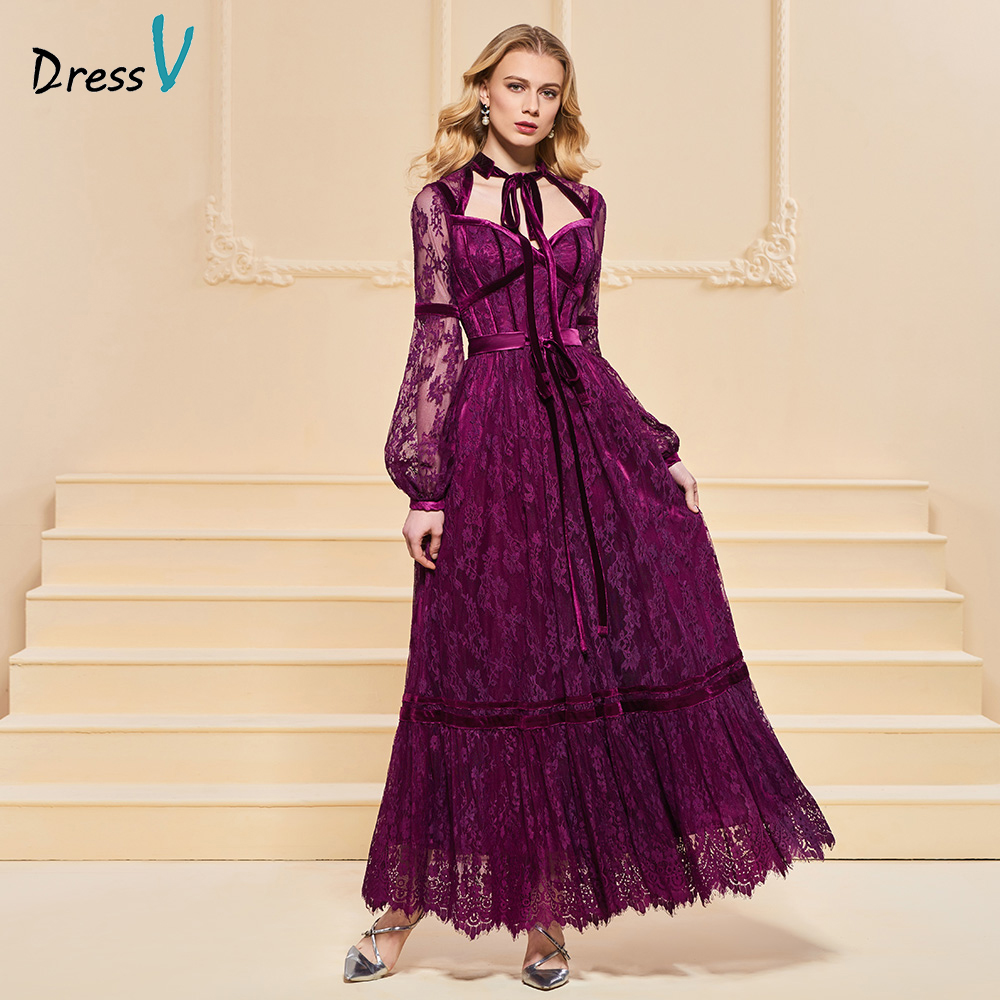 Dressv Evening Dress A Line Elegant Button Lace Sashes Long Sleeves Ankle-length Wedding Party Formal Dress Evening Dresses