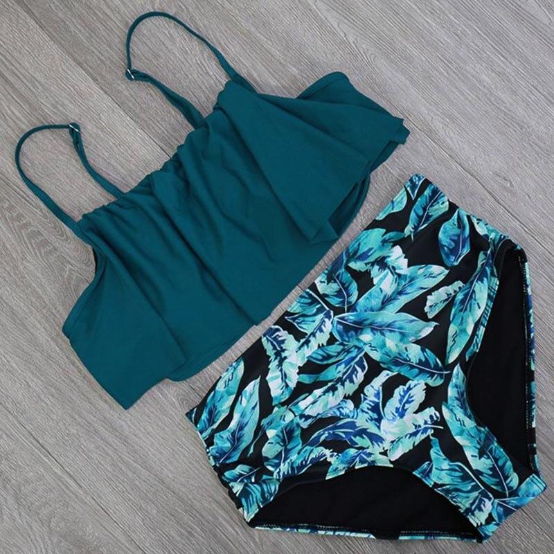 HTB1K9lAvsyYBuNkSnfoq6AWgVXaR 2018 Bikinis Women Swimwear High Waist Swimsuit Halter Sexy Bikini Set Retro Bathing Suits Plus Size Swimwear XXL