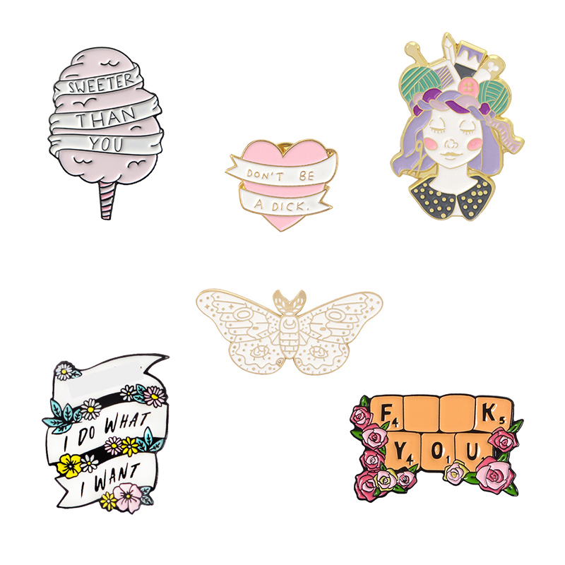 Candy Girl Heart Butterfly FY Flower I do what I want Pins Sweet Brooches Collection Lapel pin Enamel pin Badge for Women Men 1