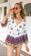 2016 Bohemian Womens Summer Jumpsuit V-Neck Long Sleeve Pattern Print Playsuit Loose Casual Shorts Jumpsuits Beach Holiday Suit