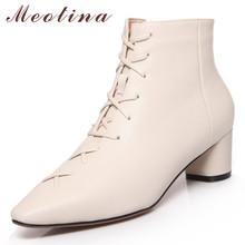Meotina Winter Ankle Boots Women Natural Genuine Leather Round Heels Short Zipper Square Toe Shoes Lady Big Size 43