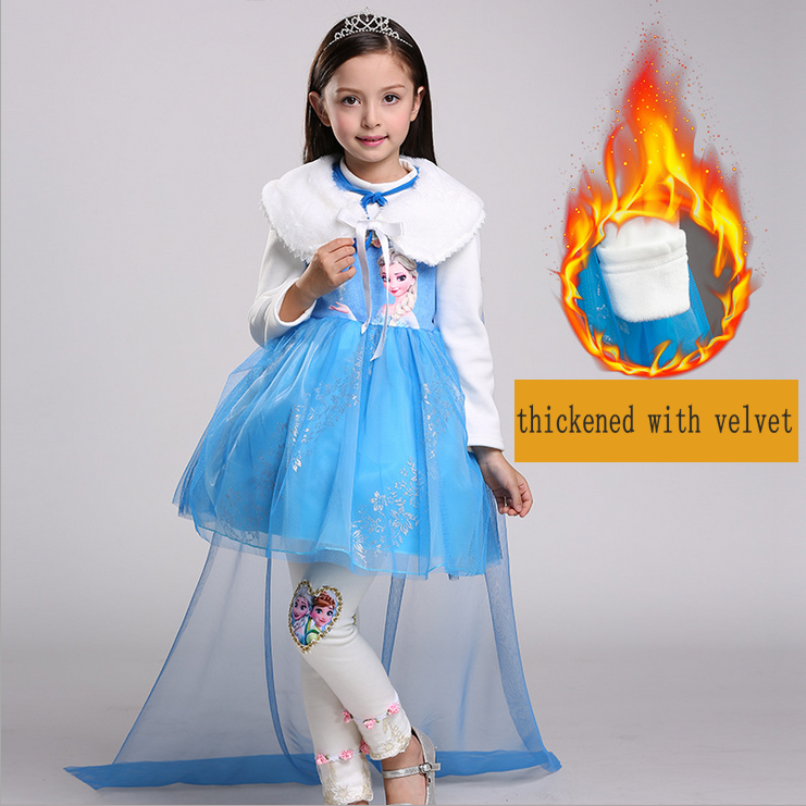 Halloween Christmas cosplay costume princess dress anna elsa dress princess skirt party dress long sleeve thickened with velvet in Girls Costumes from Novelty Special Use