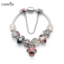 Handmade Cute Children Mickey Charms Fit Europe and United States Gift for Women Kids Girl DIY Murano Glass Beads Bracelet