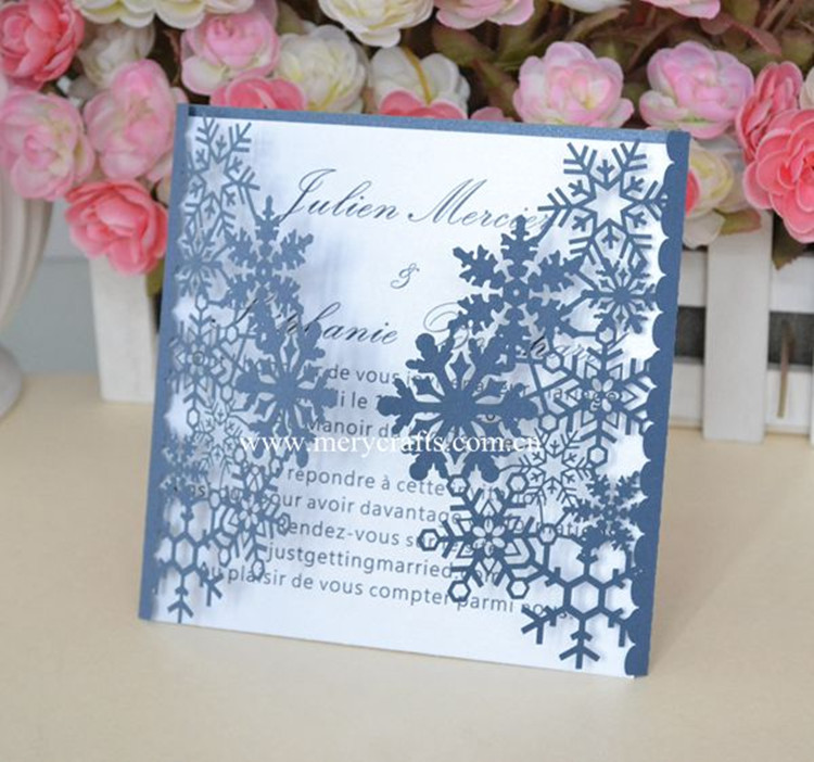 Snowflake Christmas Invitations Laser Cut 12pcs Winter Wedding Invitation  Card Free Shipping(China (Mainland