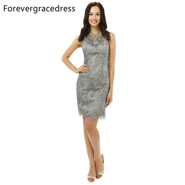 Forevergracedress 2017 Real Pic Straight Silver Cocktail Dress Sexy Lace Sleeveless Evening Party Gown Plus Size Custom Made