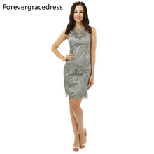 Forevergracedress 2017 Real Pic Straight Silver Cocktail Dress Sexy Lace Sleeveless Evening Party Dress Plus Size Custom Made