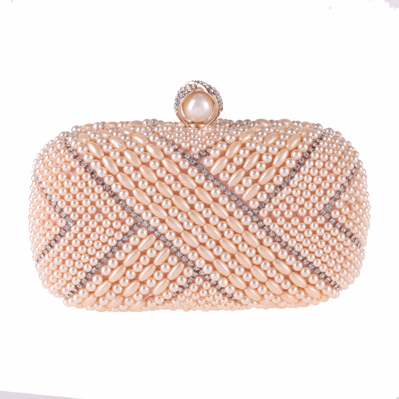 New Fashion Women's Evening Party Clutch Handbag Elegant Pearl Beading Crystal Flap Fit Dress Shoulder Bag Black White Champagne faux pearl beading open shoulder knot chiffon dress
