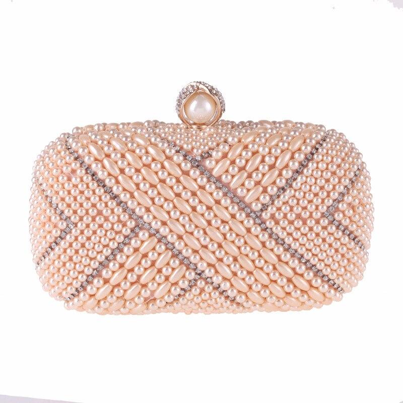 New Fashion Women's Evening Party Clutch Handbag Elegant Pearl Beading Crystal Flap Fit Dress Shoulder Bag Black White Champagne