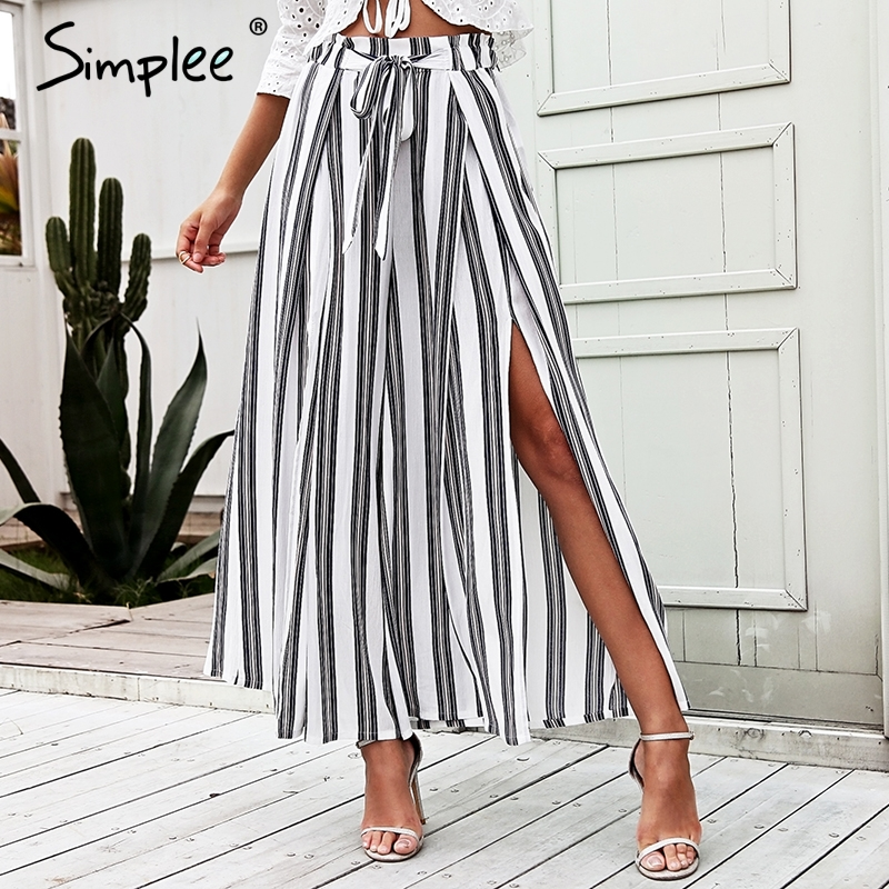 Simplee High waist loose striped summer <font><b>pants</b></font> plus size <font><b>Sexy</b></font> side split <font><b>women</b></font> <font><b>pants</b></font> Elastic cotton white wide leg trousers <font><b>2018</b></font> image