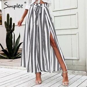Image 1 - Simplee Hoge Taille Losse Gestreepte Zomer Broek Plus Size Sexy Side Split Vrouwen Broek Elastische Katoen Witte Wijde Pijpen Broek 2018