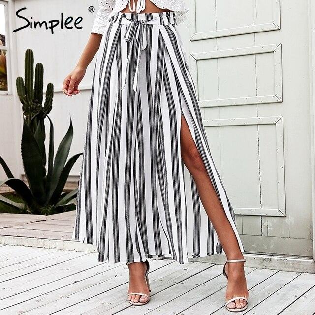 Женские широкие брюки Simplee в полоску,свободные хлопчатобумажные штаны с высокой талией и разрезами на боках, летние эластичные белые тканые брюки больших размеров