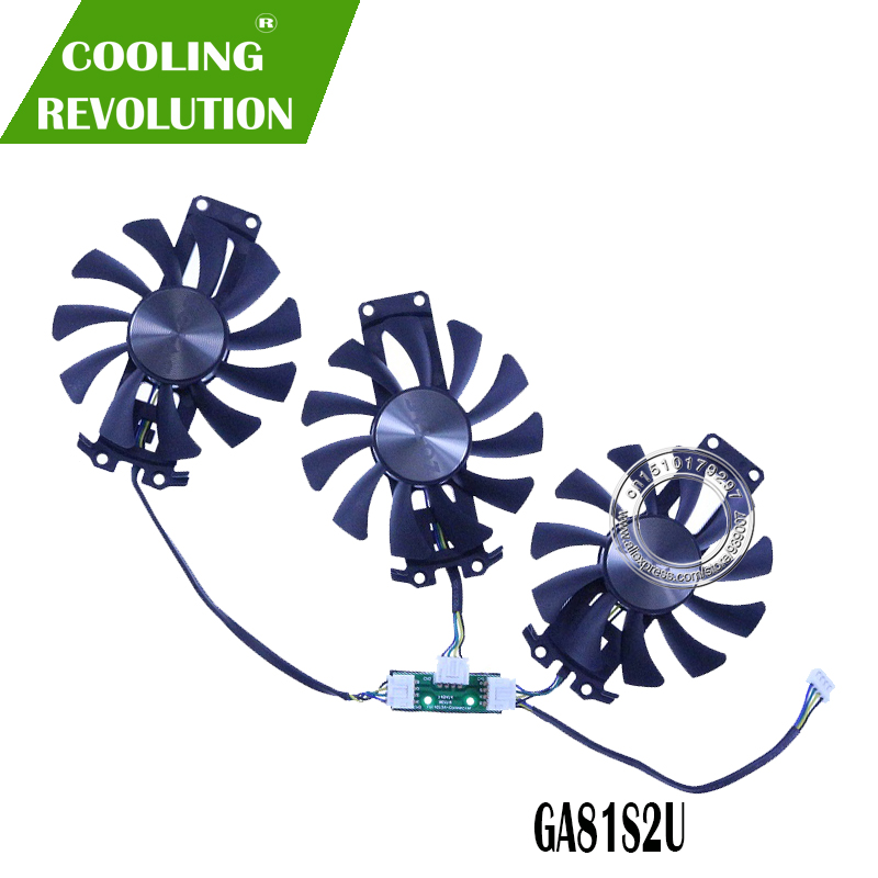 3PCS/Lot 75mm GA81S2U 4PIN GTX980 GTX970 VGA GPU Cooler Fan Replace For ZOTAC Geforce GTX 980-4GD5 GTX 970 AMP 4G Graphic Card