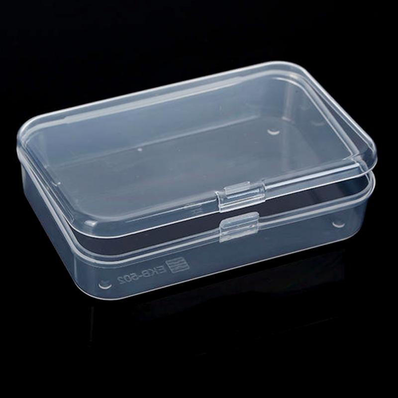 2pcs mini plastic clear transparent storage box with lid for Plastic craft boxes with lids