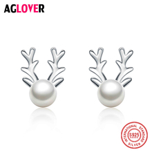 AGLOVER 925 Sterling Silver Natural Pearl Earrings Jewelry Womens 2018 Fashion Antlers Shaped Post Stud Gifts