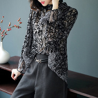 Fashion print loose plus size pullovers blouse 2018 new brand runway women spring summer shirts high quality office lady shirts