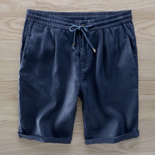 Suehaiwe 2018 Italy linen beach shorts elastic waist loose board shorts men