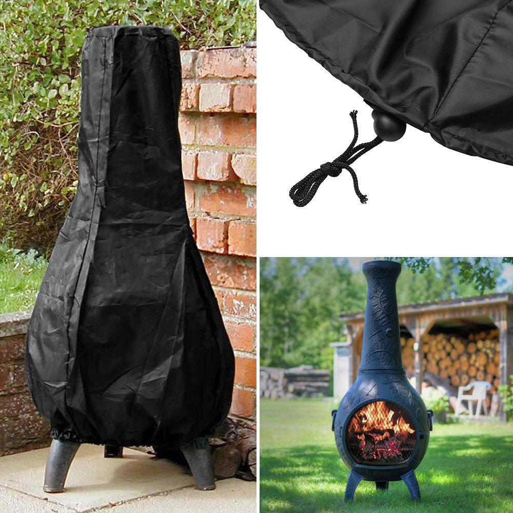 Fireplace Chimenea-Covers Patio-Heater Anti-Dust-Cover Courtyard Uv-Resistant Black Ployester