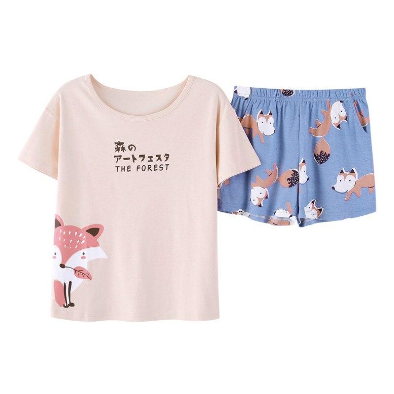 Pink Unicorn   Pajamas     Sets   Women Two Piece Pijama Unicornio Womens Cotton T Shirt Tops And Shorts Women   Pajamas   Suit Nightwear