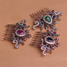 Vintage Women Hair Combs 2016 Brand Turkish Green Crown Big Water Drop Acrylic Hairwear Antique Gold Hair Accessories For Party