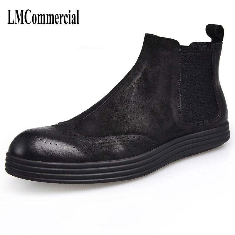 The new autumn and winter men leather boots shoes Martin male British style boots high shoes men Chelsea casual handmade shoes martin boots men s high boots korean shoes autumn winter british retro men shoes front zipper leather shoes breathable